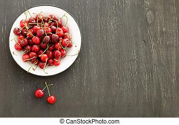 Plate of ripe cherries