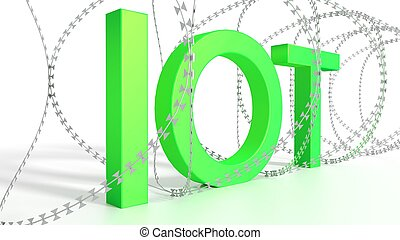 Big green word IOT surrounded by barbed wire on white