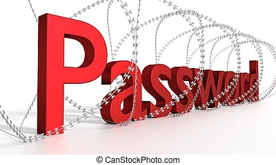 Big red word password surrounded by barbed wire on white