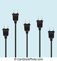 Many power supply plugs, vector illustration