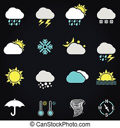 Weather vector icon set - Modern weather icons set. Flat...