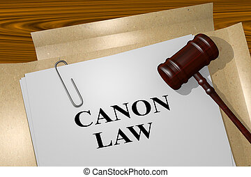 Canon Law concept - 3D illustration of 'CANON LAW' title on...
