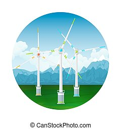 Icon Wind Turbines on the Ground - Icon Horizontal Axis Wind...
