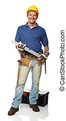 happy manual worker - smiling standing handyman holding...