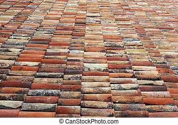 Old tiled roof. Architectural textured background.