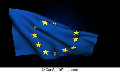 European Union flag waving on black background closeup 4K