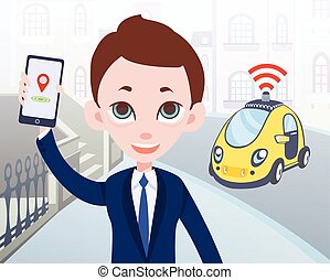 taxi, ciudad,  smartphone, calle, Ilustración,  driverless, Ordenar, coche, carácter, móvil,  vector, Plano de fondo, Utilizar, hombre de negocios, aplicación, caricatura, hombre