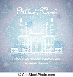 Main Gate to the Akbars Tomb Watercolor Background - Akbars...