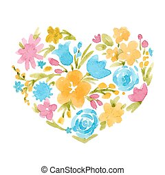 Watercolor vector abstract floral heart