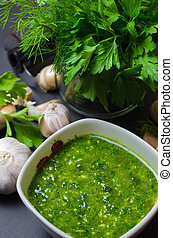 Raw Green Sauce with garlic, dill and parsley - Raw Organic...