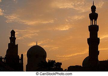 mezquita,  tulun, silueta,  ibn, El Cairo
