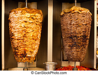 Chicken Lamb Shawerma Fast Food Meat - Delicious slabs of...