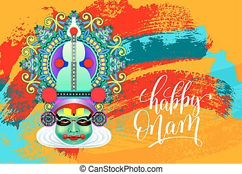 happy onam greeting card with indian kathakali dancer face...