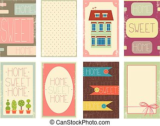 Home sweet home. Set of banner, background, flyer, placard...