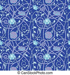 Medieval flowers pattern blue - medieval floral pattern on a...