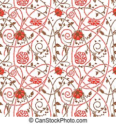 Medieval flowers pattern white - medieval floral pattern on...