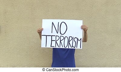 Demonstration against terrorism and terror, banner no...