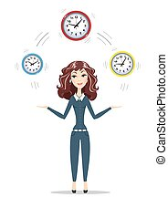 Business woman holding Time - Abstract Businesswoman holding...