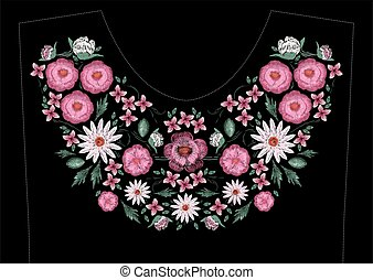 Satin stitch embroidery design with flowers. Folk line...
