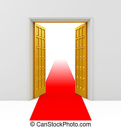 Golden opened doors with red carpet