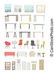 Office Essentials - modern vector flat icons set - Office...