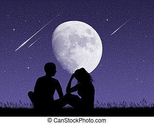 couple looking the shooting stars