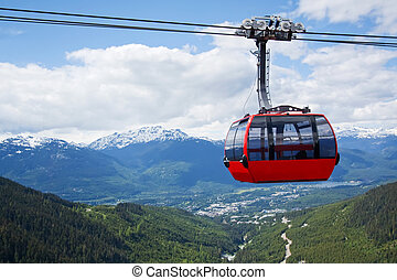 Aerial tram at Whistler Peak, Canada - Red car of the aerial...