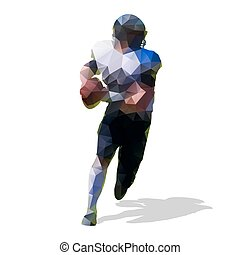 Abstract geometric football player with ball, polygonal vector silhouette