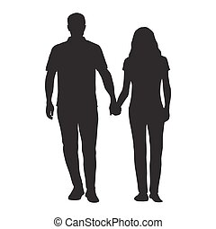 Couple holding hands, man and woman dating, vector silhouette. People in love
