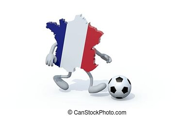 French map play football soccer, 3d animation