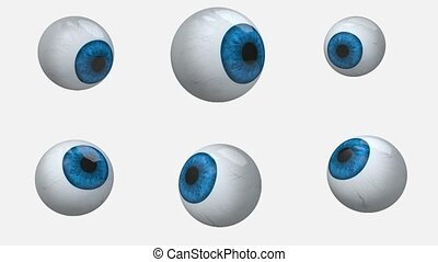 many blue eyes balls rotation, 3d animation loop