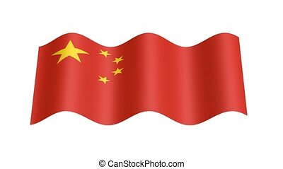 Chinese flag wavy, 3d animation loop