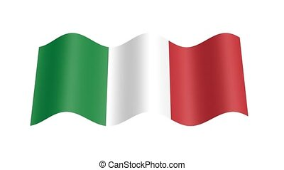 Italian flag wavy, 3d animation loop