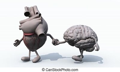 human heart and brain that walk hand in hand, 3d animation...