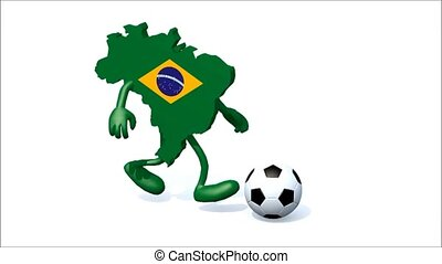 brasilian map with arms, legs running with a football, 3d...