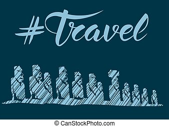 Travel concept with monument - Travel concept. Vector...