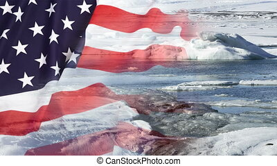 Timelapse of melting glaciers with US flag - Timelapse of...