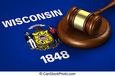 Wisconsin Legal System And Law Concept - Wisconsin US state...