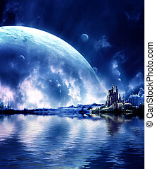 Landscape in fantasy planet - Collage - landscape in fantasy...