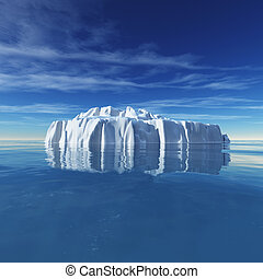Underwater view of iceberg with beautiful transparent sea on...