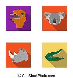 Ostrich, koala, rhinoceros, crocodile, realistic animals set...