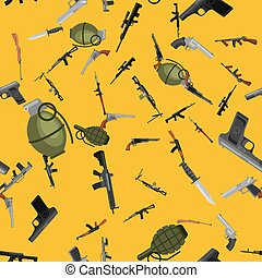 military gun seamless pattern, automatic and hand weapon in...
