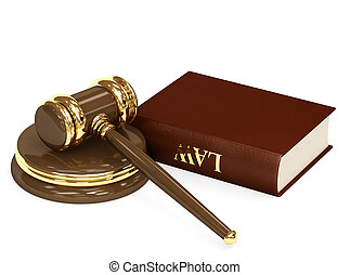 Law - Symbol of justice - judicial 3d gavel Object over...