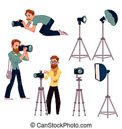 Set of cartoon photographers at work and professional equipment