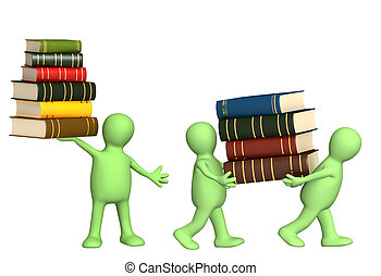 Books - 3d puppets with books - isolated over white