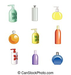 Set of body care products isolated on white background. Vector illustration.