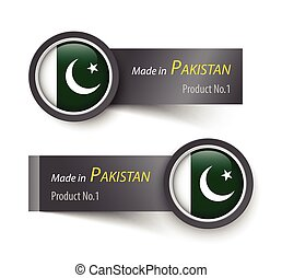 Flag icon and label with text made in Pakistan .