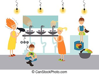 Family in toilet of hostel or communal apartment. Vector. -...