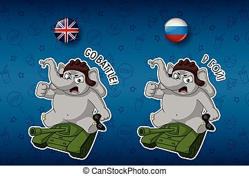 Elephant cute Nick. Big set of stickers in English and Russian languages. Sitting on a tank. Vector, cartoon