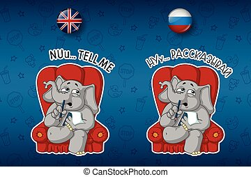 Psychologist sitting in a chair listening to.  Big set of stickers in English and Russian languages. Vector, cartoon
